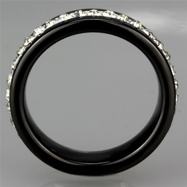 Women's Black Ion Plated Stainless Steel CZ All Around Wedding Band