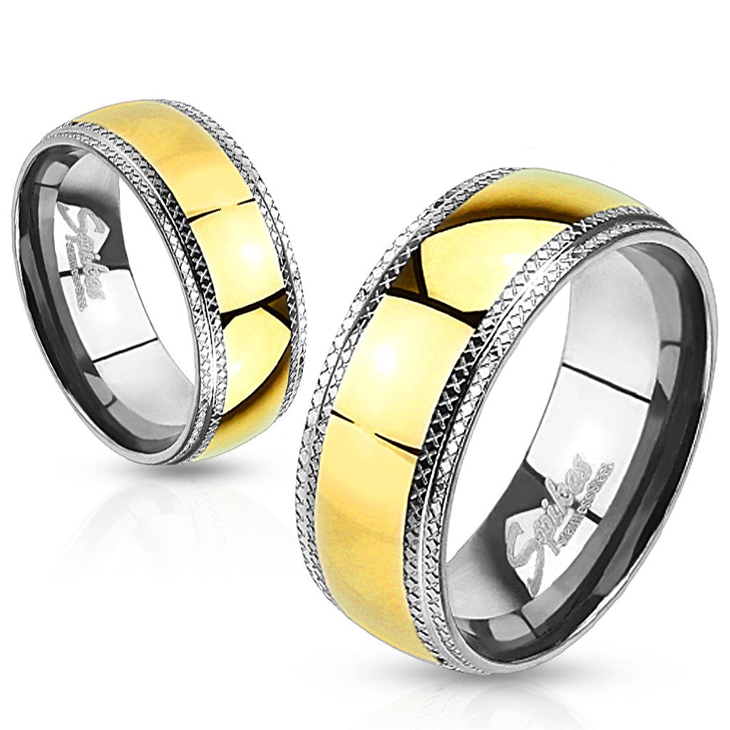Men's Gold Ion Plated Center Stainless Steel Wedding Band with Etched Edges