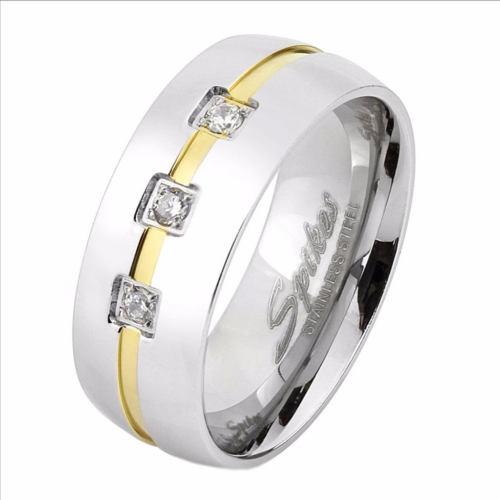 Three Round CZs with Gold IP Line Center Men's Stainless Steel Ring