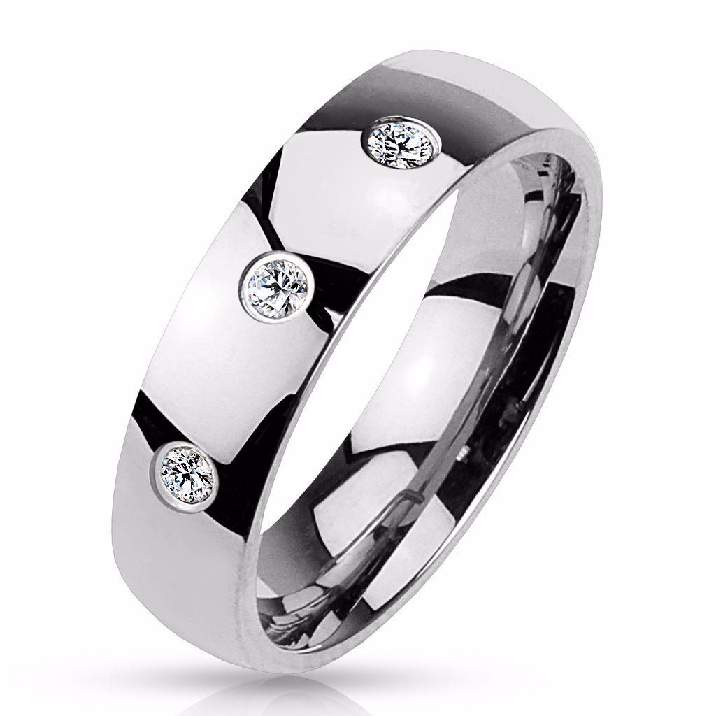 Three Round CZ Set Classic Dome 316L Stainless Steel Men's Band Ring