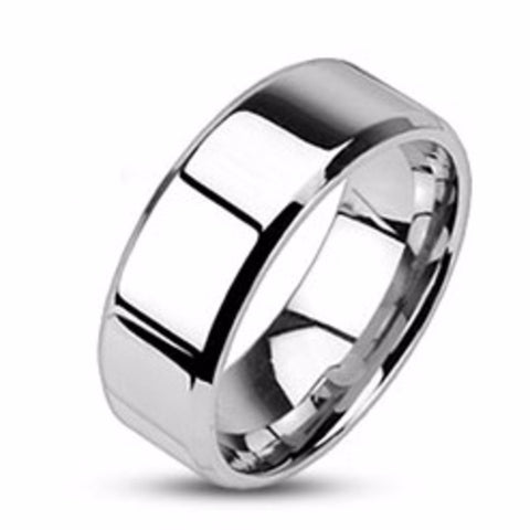Mirror Polished Flat Band with Beveled Edge 316L Stainless Steel Men's Band