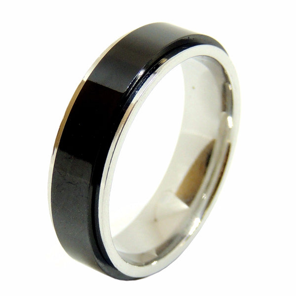 His Hers 4 PCS Black IP Stainless Steel Round Cut CZ Wedding Set Mens Spinning Matching Band - LA NY Jewelry