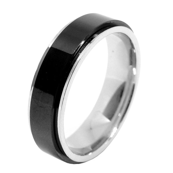 4 PCS Couple Black IP Stainless Steel 6x6mm Round Cut CZ Engagement Ring Set Mens Spinning Band