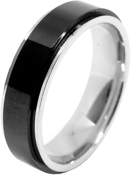 3 PCS Couple Black IP Stainless Steel 8x6mm Oval Cut CZ Engagement Ring Set Mens Spinning Band