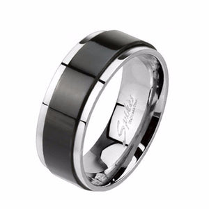 Spinner Black IP Two Toned 316L Stainless Steel Mens Band Ring