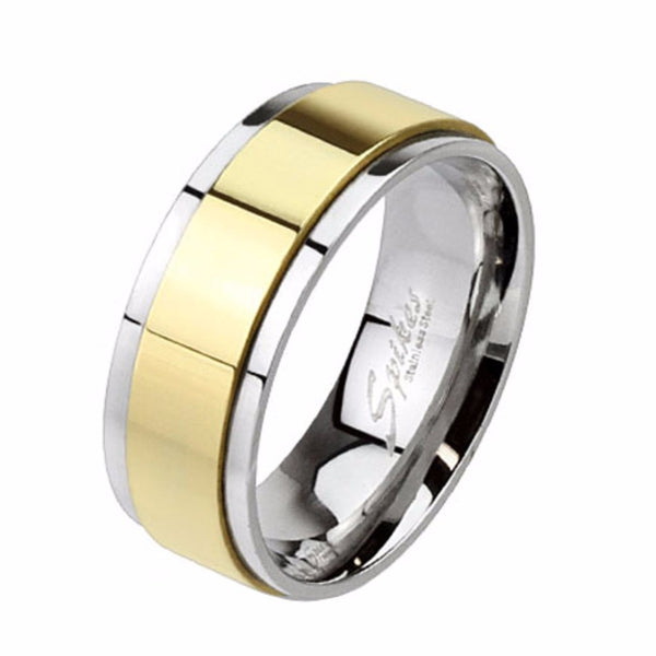 His Hers 3 Pcs Gold IP Stainless Steel Round CZ Wedding Ring set and Mens Gold Spinning Band - LA NY Jewelry