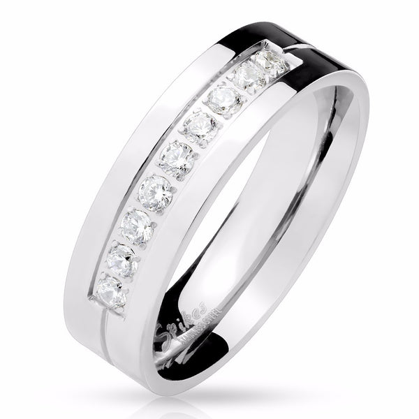 His Hers 3 PCS Womens 6x6mm Round CZ Stainless Steel Wedding Ring Set Mens 9 Round CZ Band - LA NY Jewelry