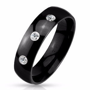 Three CZs Set Classic Dome Black IP 316L Stainless Steel Mens Band Ring
