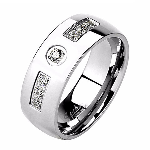 Six CZs Inlay with Center CZ Stainless Steel Mens Band Ring