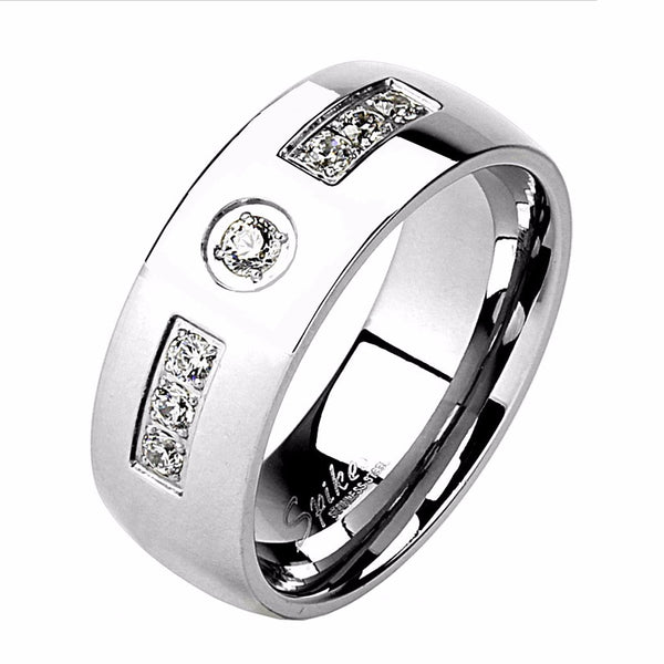 3 PCS Couple Womens Princess Cut CZ Wedding Ring set / Mens Band with 7 CZs - LA NY Jewelry