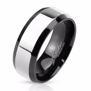 Glossy Center with Beveled Edge Two Tone Stainless Steel Men's Band Ring