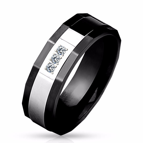 His Hers Ring Set Womens Round CZ Anniversary Two Tone Ring Mens 3 CZ Wedding Band - LA NY Jewelry