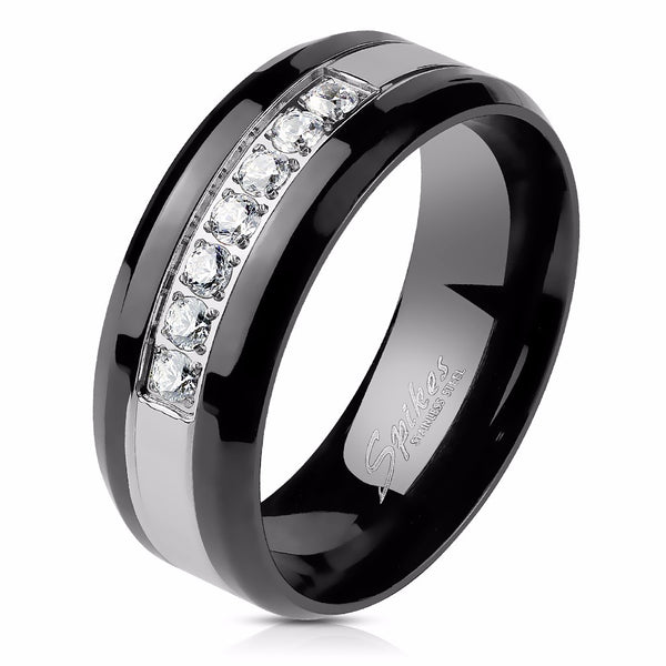 4 PCS Couple Black IP Stainless Steel 6x6mm Round Cut CZ Engagement Ring Set Mens 7 CZs Band