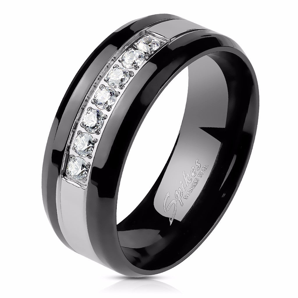 Men's Two Tone Black IP 316 Stainless Steel Band with 7 CZs set in Center