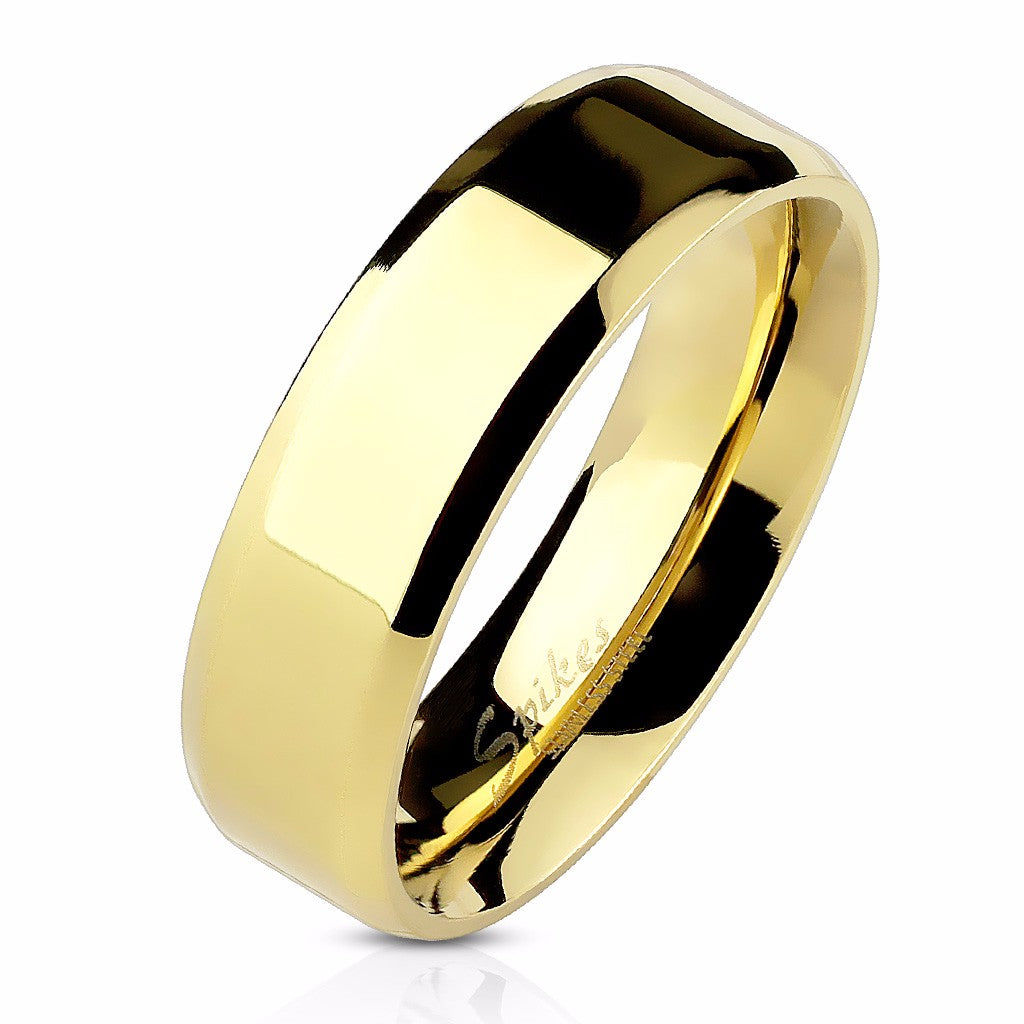 Beveled Edge Flat Band Gold IP Over Stainless Steel Men's or Women's Ring