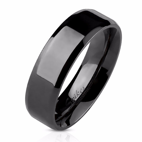 3 PCS Couple Princess Cut CZ Black IP Stainless Steel CZ Wedding Set Mens Flat Band