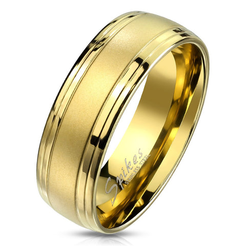 Gold IP Brushed Center and Double Grooved Lines Men's Stainless Steel Ring