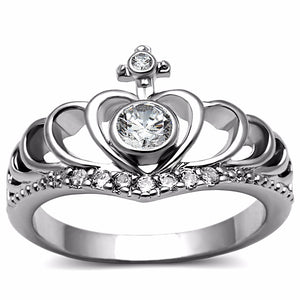 Clear CZ Set in 316 Stainless Steel Womens Crown Ring - LA NY Jewelry