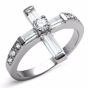 Clear CZ Set in 316 Stainless Steel Christian Cross Ring - LA NY Jewelry