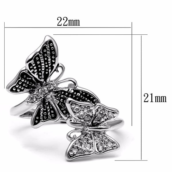 Two Butterfly Clear CZ Stainless Steel Non Tarnish Band - LA NY Jewelry