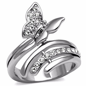 Clear CZ set in Butterfly Stainless Steel Wide Band Ring - LA NY Jewelry