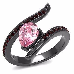 Pink Pear CZ and Red Round CZ set in IP Light Black Stainless Steel Band - LA NY Jewelry
