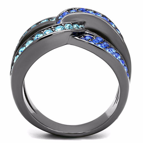 Sky Blue and Admiral Blue CZs set in IP Light Black Stainless Steel Band - LA NY Jewelry