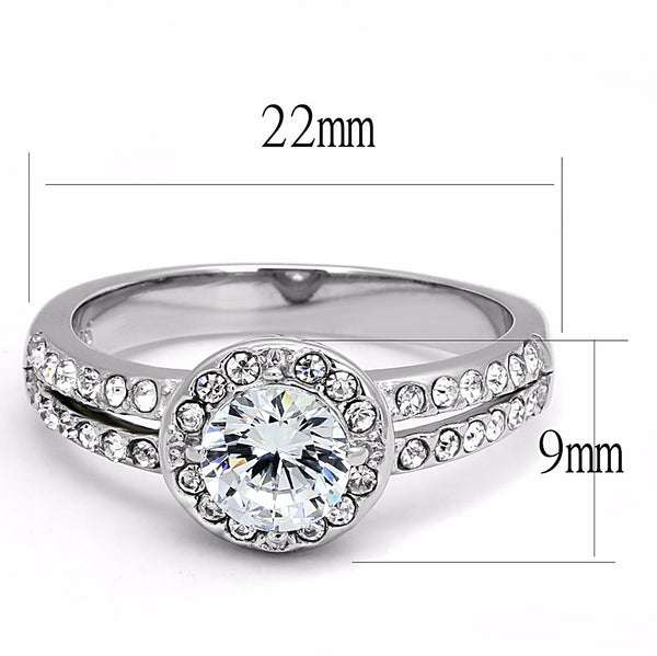 6X6mm Round CZ Center Stainless Steel Promise Ring - LA NY Jewelry