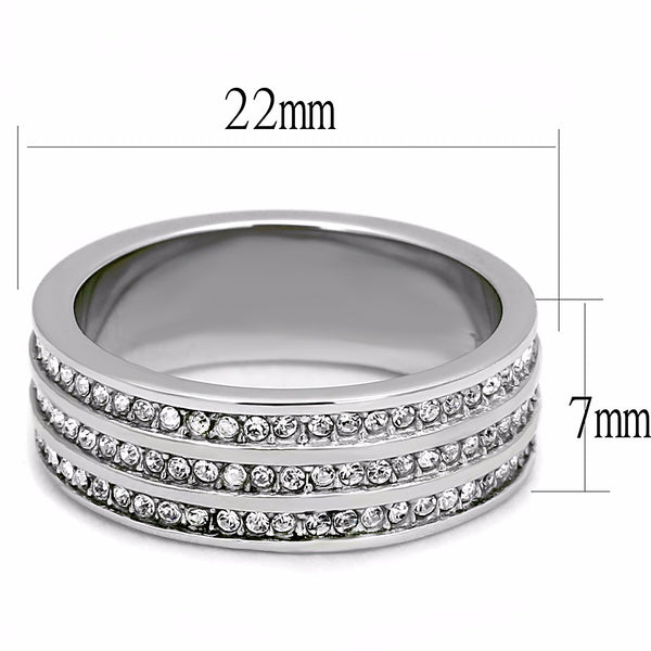 3 Rows Clear Crystal Stainless Steel All Around 7mm Wide Band - LA NY Jewelry