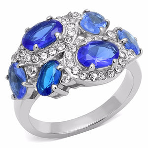 6 Royal Blue Oval CZs Scattered on Stainless Steel Band Ring - LA NY Jewelry