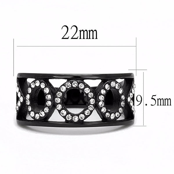 Clear CZ on 3 Link Circles Set in Black IP Stainless Steel Band Ring - LA NY Jewelry