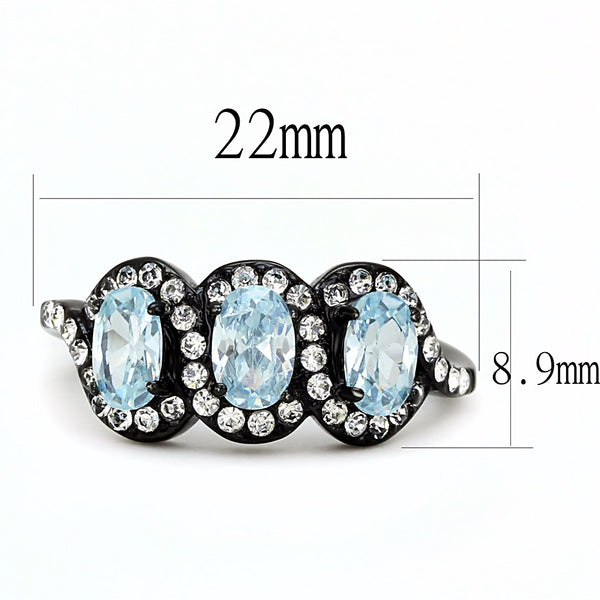 3 Sky Blue Oval CZs with Clear CZs set in Black IP Stainless Steel Band Ring - LA NY Jewelry