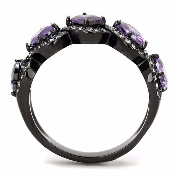 5 Purple Oval CZs with Clear CZs set in Black IP Stainless Steel Band Ring - LA NY Jewelry