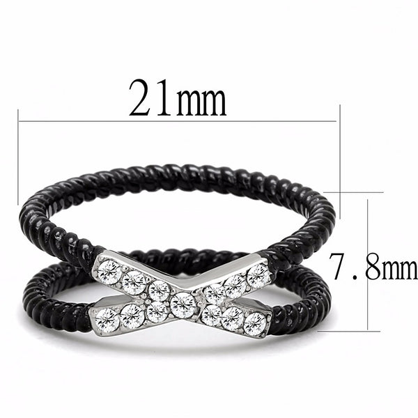 Clear CZ set on X Band Two-Tone IP Black Stainless Steel Band - LA NY Jewelry