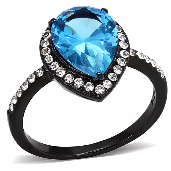 Sea Blue 11x8.5mm Pear Cut CZ Center Black IP Stainless Steel Cocktail Ring - LA NY Jewelry