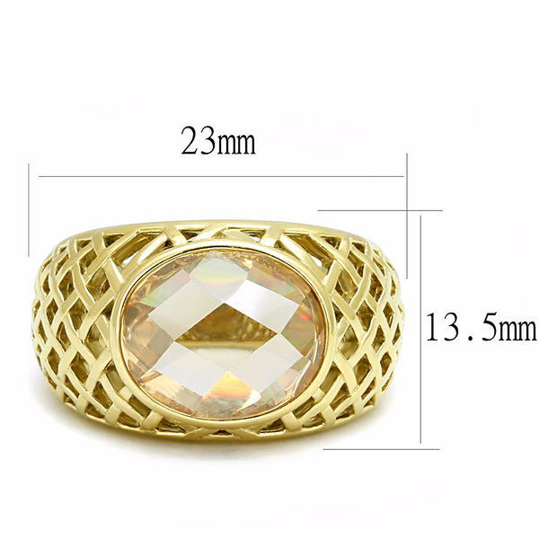 13x10mm Champagne CZ Set in Gold IP Stainless Steel Women Wedding Ring - LA NY Jewelry