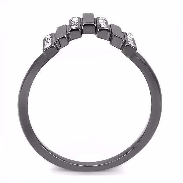 Top Grade Clear Crystal Set in Light Black IP (IP Gun) Stainless Steel Band - LA NY Jewelry