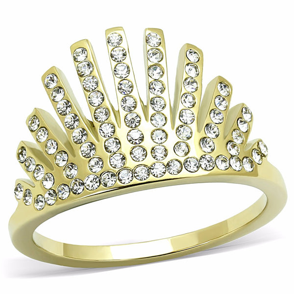 Top Grade Crystal Set in Gold IP Stainless Steel Crown Band - LA NY Jewelry
