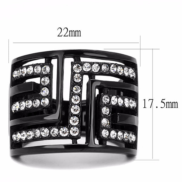 Top Grade Crystal Set in Black IP Stainless Steel Wide Band Ring - LA NY Jewelry