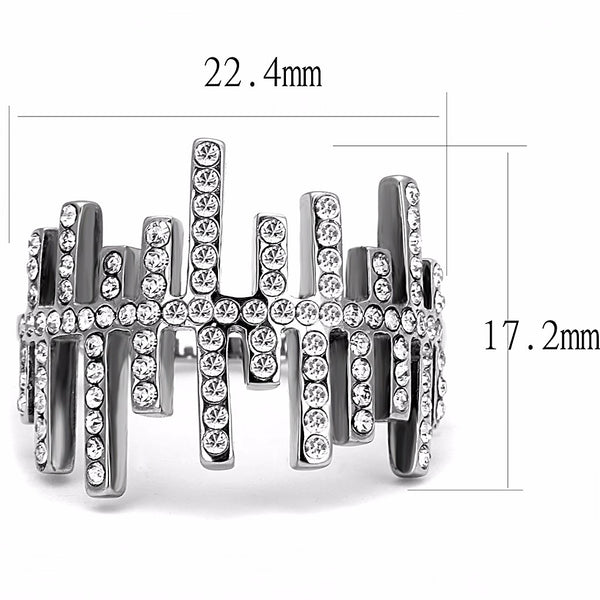 Top Grade Clear Crystal in Asymmetry Line Stainless Steel Band - LA NY Jewelry
