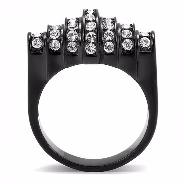 Top Clear Crystals Set in Black Ion Plated Stainless Steel Designer Band - LA NY Jewelry