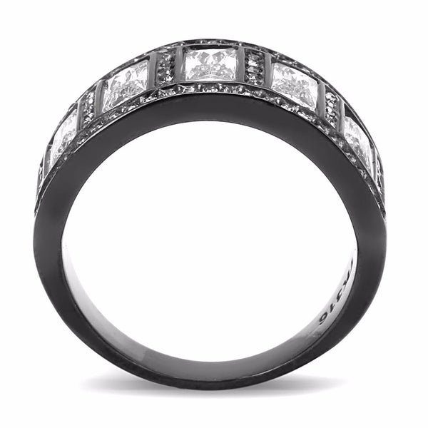5 Clear Baguette Cut CZ s Set in Black IP Stainless Steel Eternity Band - LA NY Jewelry