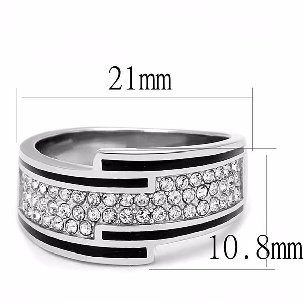 Top Grade Clear Crystal with Black Outline set in Stainless Steel Band - LA NY Jewelry