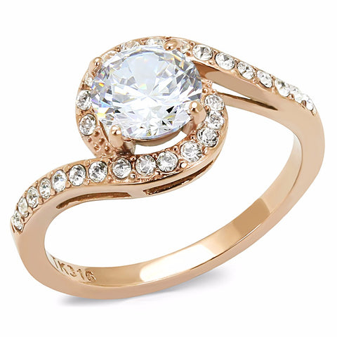 7x7mm Round Cut CZ Center Set in Rose Gold IP Stainless Steel Women's Ring - LA NY Jewelry