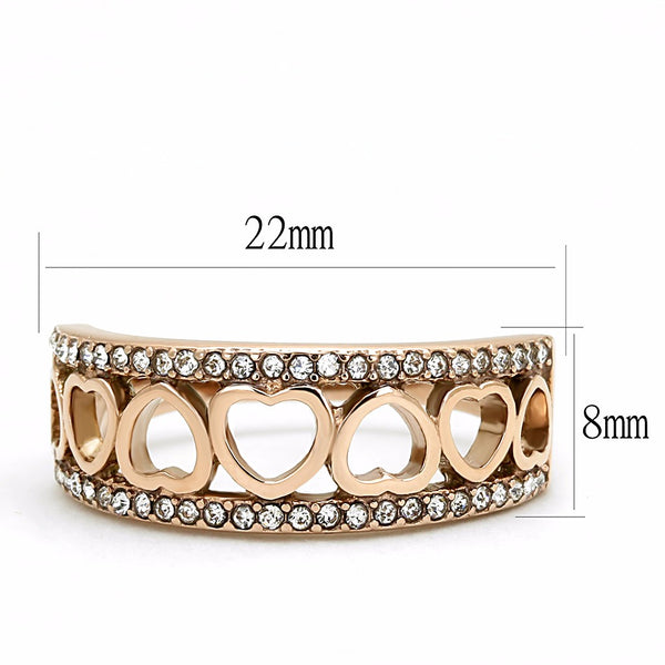 Top Grade Clear Crystal with Heart Link Rose Gold IP Stainless Steel Band - LA NY Jewelry