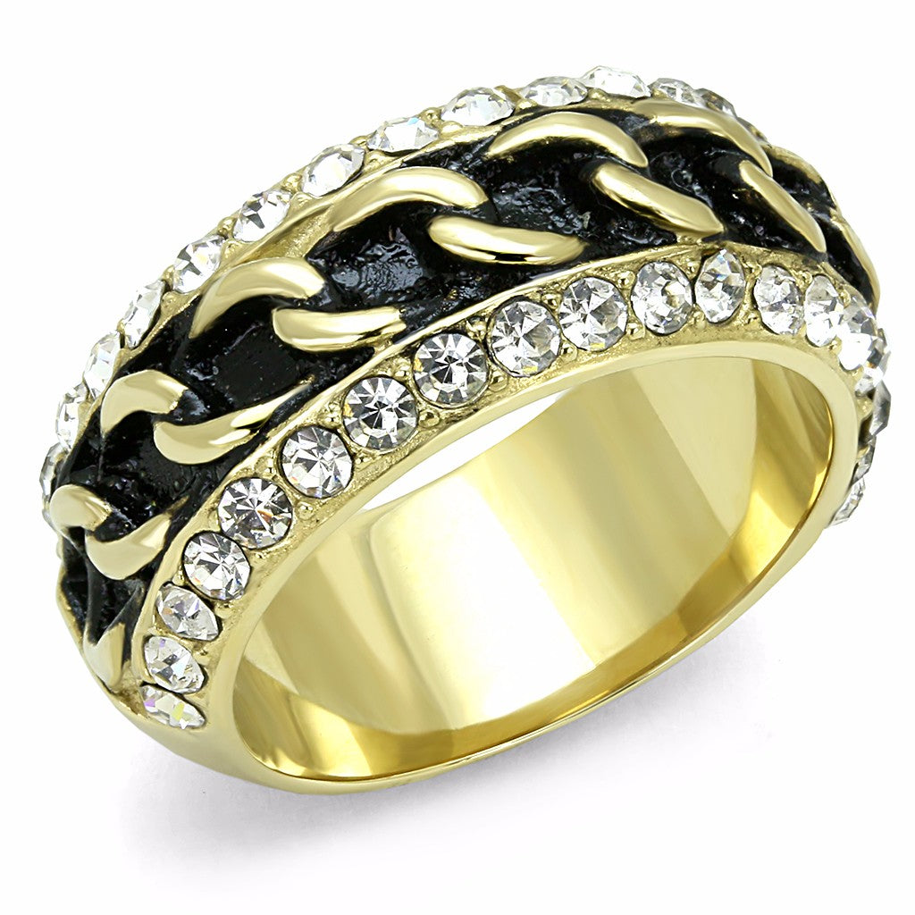 Top Grade Clear Crystal with Black Chain Look Center Gold IP Stainless Steel Band - LA NY Jewelry