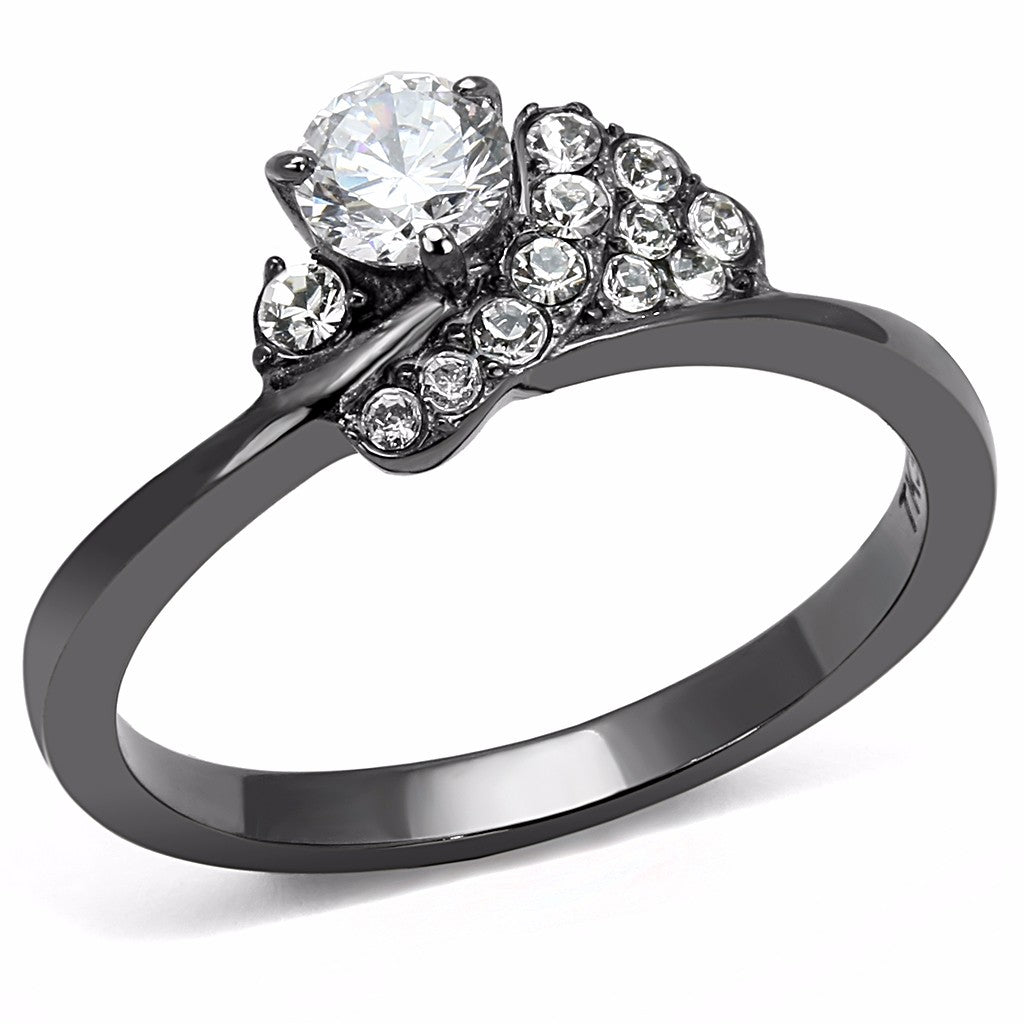 4.5x4.5mm Round Cut CZ Set in Light Black IP Stainless Steel Women's Ring - LA NY Jewelry