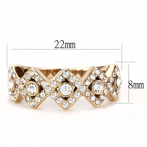 Top Grade Crystal set in 5 Rhombus Shape Rose Gold IP Stainless Steel Band - LA NY Jewelry