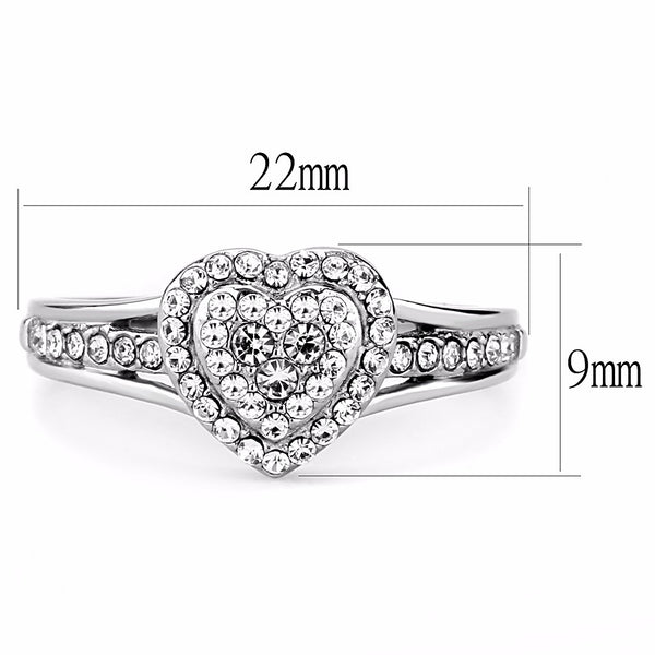 Top Grade Crystal Set Heart in Heart Shape Stainless Steel Women's Ring - LA NY Jewelry