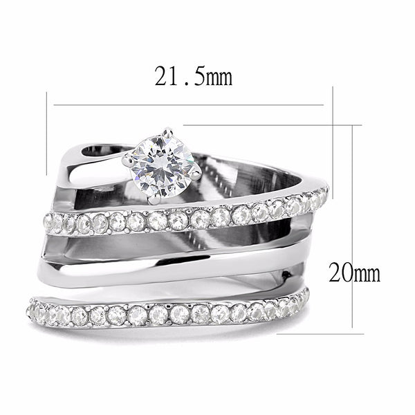 5x5mm Round CZ Side with Top Grade Crystal Stainless Steel Wide Band Ring - LA NY Jewelry